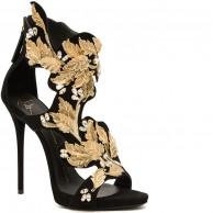 Giuseppe Zanotti Gold Filigree Suede Sandals